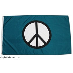 Teal with Black/White Peace Logo Flag