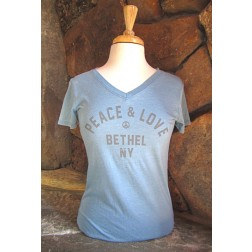 Bethel Woods Peace & Love Ladies V-Neck T-Shirt