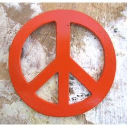Orange Painted Metal Peace Sign Artisan Magnet