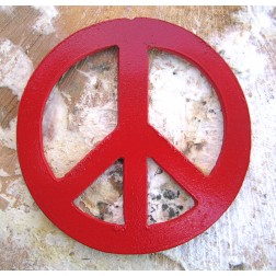 Red Painted Metal Peace Sign Artisan Magnet