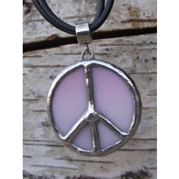Tiffany Peace Sign Artisan Necklace-Pink