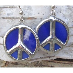 Tiffany Peace Sign Artisan Earrings-Ultramarine Blue