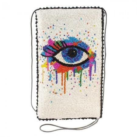 Eye Paint-Beaded Crossbody Phone Bag