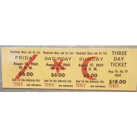 Replica Woodstock 3 Day Ticket Magnet