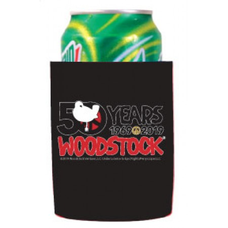 Woodstock 50th Collapsible Can Cooler-Black
