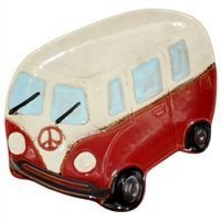 Ceramic Peace Van Plate in Red