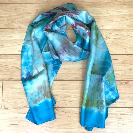 Tie-dyed Silk Scarf Teal