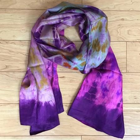 Tie-dye Silk Scarf Purple