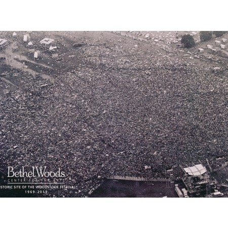 Original Woodstock Photo Postcard - Black and white arial crowd photo