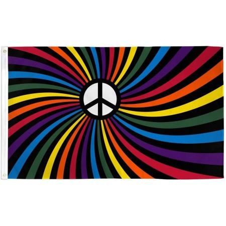 Flag Rainbow Peace Swirl Flag