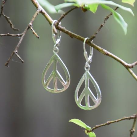 Large Silver Peace sign Tear Drop Earrings
