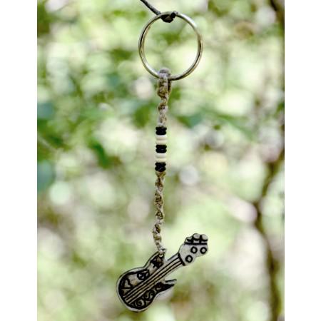 Bone & Hemp Guitar Keychain