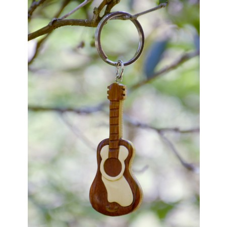 Wooden Guitar Shaped Keychain