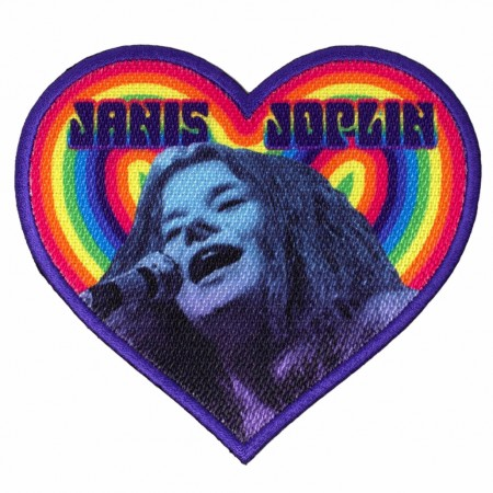 Janis Joplin Heart Shaped Patch with Rainbow