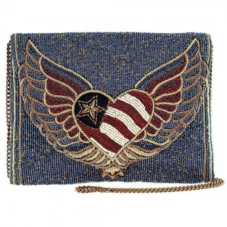 Liberty - Patriotic Heart Beaded Bag