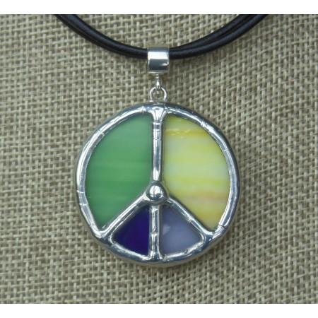 Necklace - Tiffany Peace Multicolor Green, Yellow, Ultramarine, Lavender