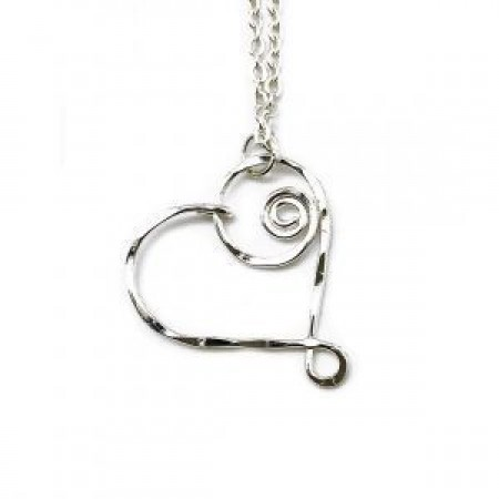 Necklace - Silver Swirly Heart Necklace Anju