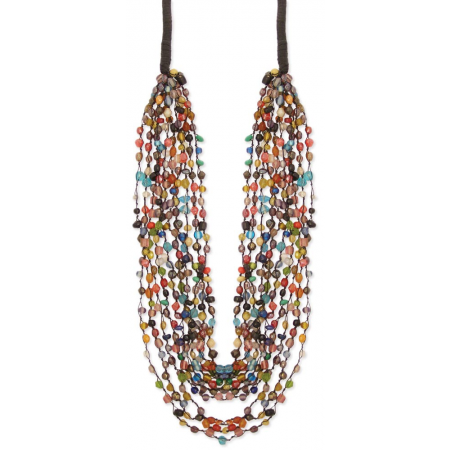 Necklace - 10 Line Multi Glass Bead and Thread Necklace