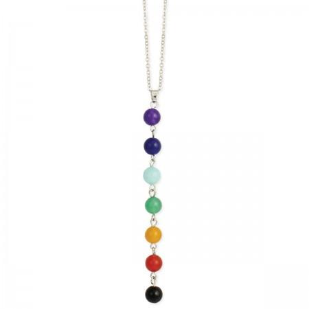 Chakra Stone Bead Drop Necklace