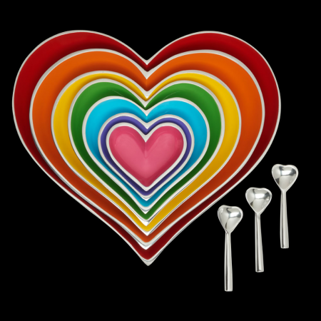 Dish - Rainbow Seven Heart Stacking Dishes with spoons