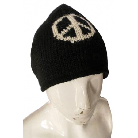 Beanie - Black Knit Peace Sign Beanie