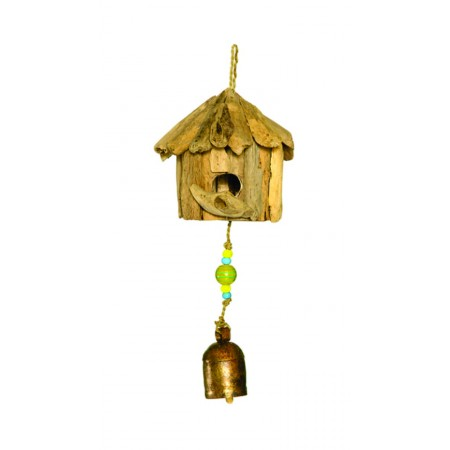 Wind Chimes - Wood Bird House bead and bell