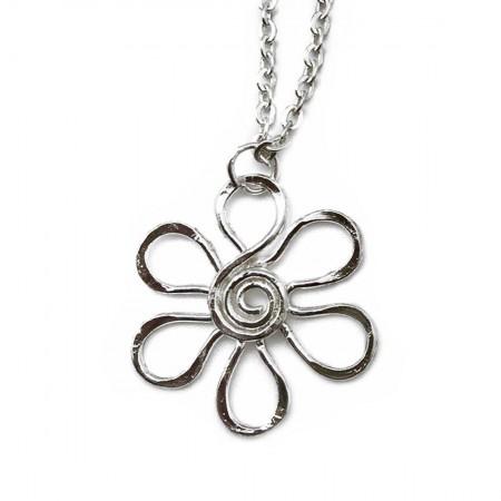 Necklace - Silver Daisy Swirl