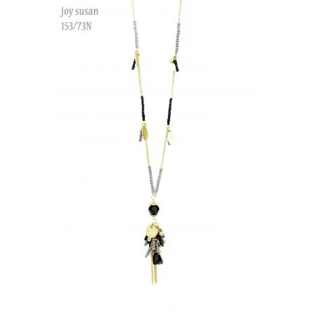 "Necklace - Antique Gold Black Grey Tassel 30"" Necklace"