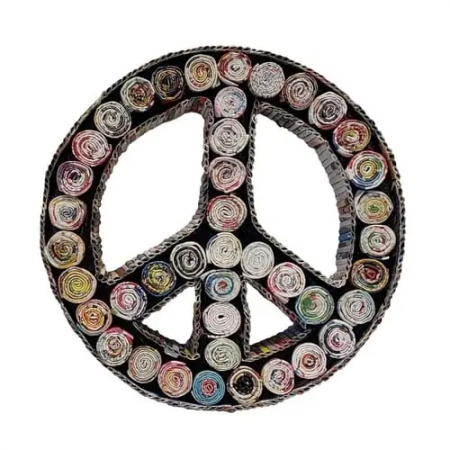 Home Decor -Recycled Peace Sign Tabletop Decor