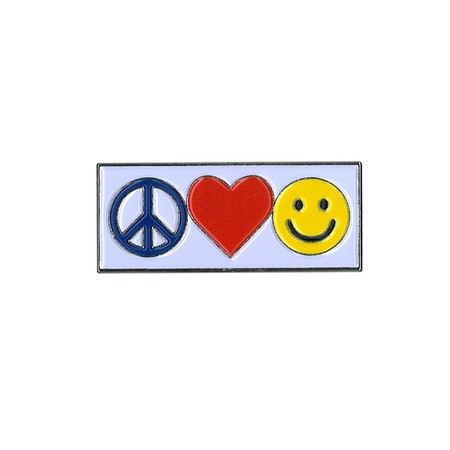 Peace Love and Happiness Emoji Pin