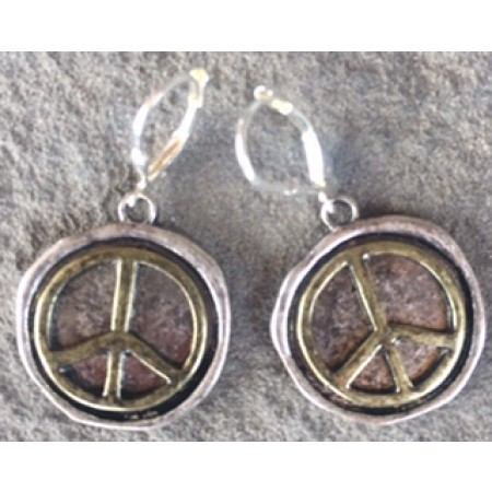 Large Peace Sign Earrings Two Color