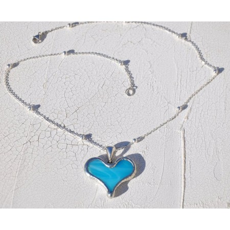 Tiffany Heart Artisan Necklace - Light Blue