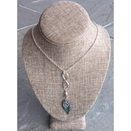 Leaf With Peace Sign Necklace