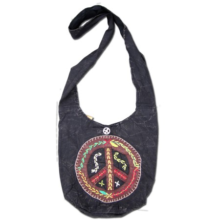 Embroidered Peace Sign Peddlers Bag