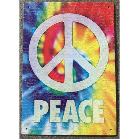 Peace Sign Tie Dye Tin Poster