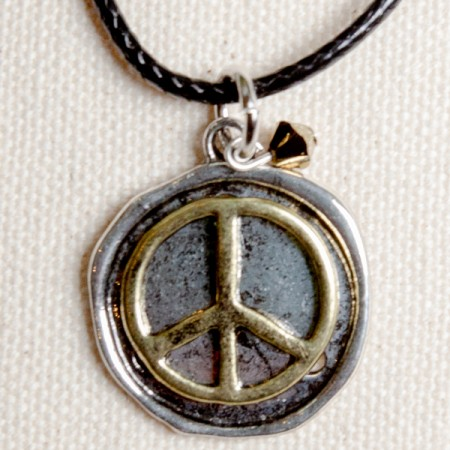 Two Tone Stamped Peace Sign Necklace with Black Cord