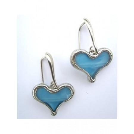 Tiffany Heart Artisan Earrings - Light Blue