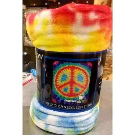 Woodstock Peace Sign Tie Dye Fleece Blanket