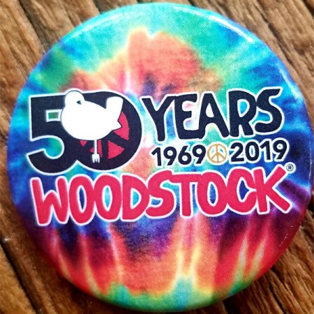 50th Anniversary Tie Dye Woodstock Button