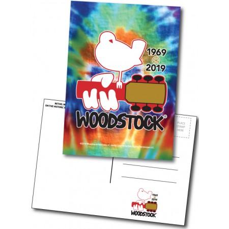 Woodstock 50th Anniversary Bird on Guitar Tie Dye Postcard