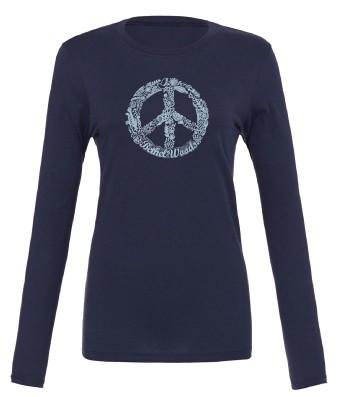 Long sleeve BW Peace Sign Tee - Navy