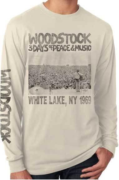 Long Sleeve Tee - Woodstock Crowd Scene; Cream