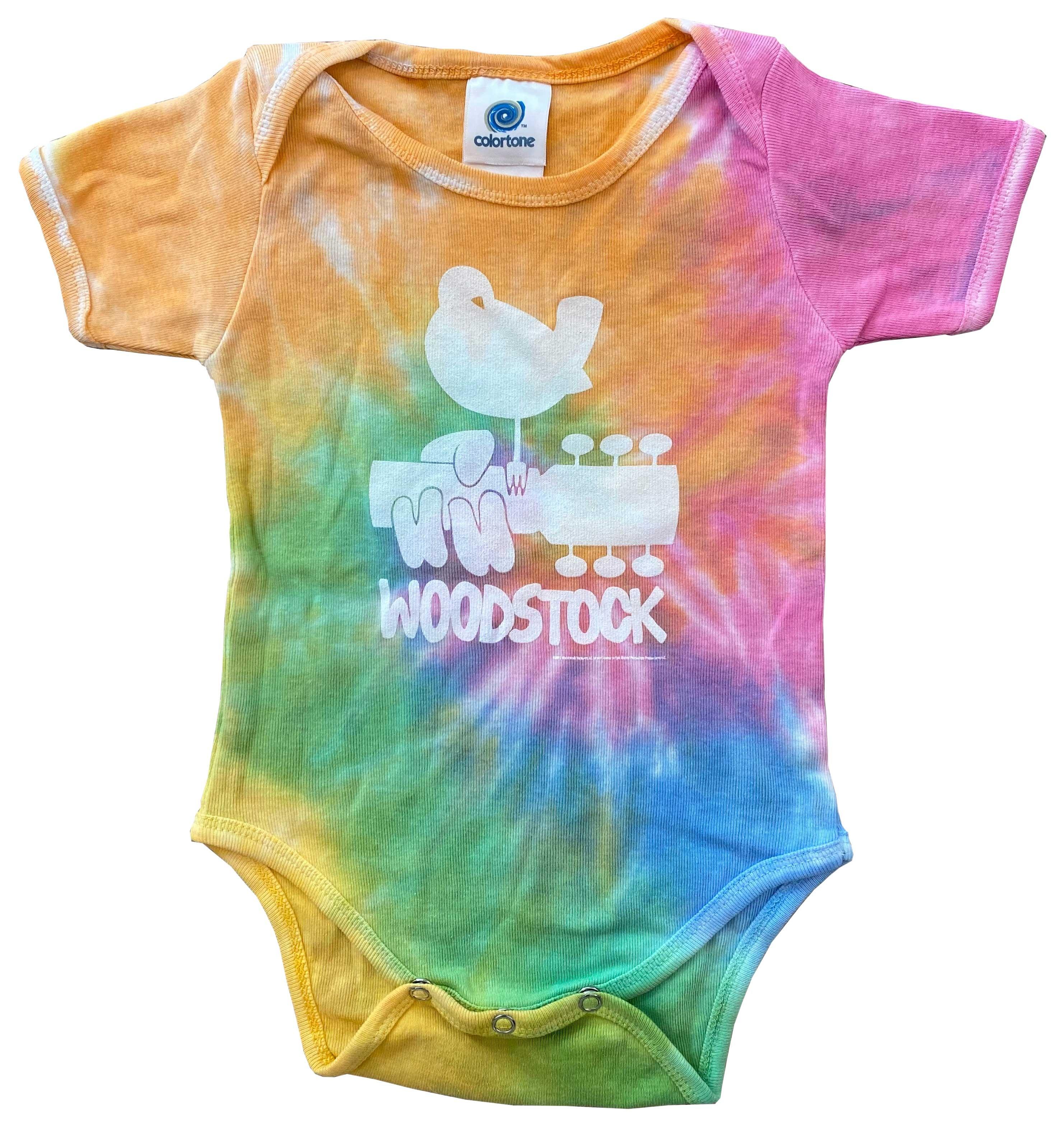 Onesie: Woodstock bird on guitar Eternity tie dye