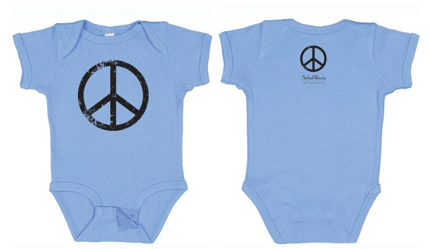 Onesie - Peace Sign, Carolina Blue