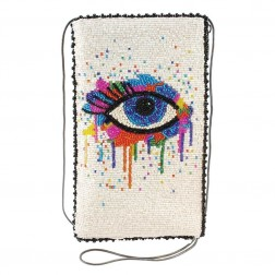 Eye Paint-Beaded Crossbody Phone Bag