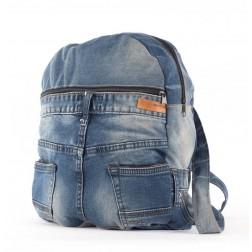 Vintage Recycled Denim Jean Backpack-Star Pattern