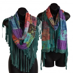 Fringe Razor Cut Embroidered Infinity Scarf