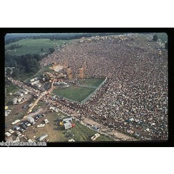 Woodstock '69 Crowd Aerial View Poster-12x18