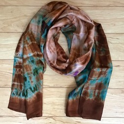 Tie-dye Silk Scarf Brown