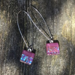 Pink Iridescent Art Glass Earrings